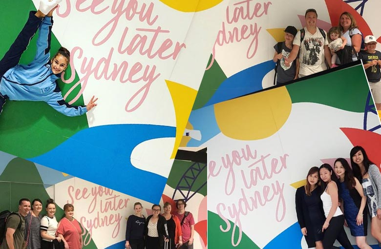 Sydney Airport departures wall